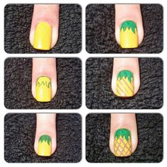 How to give your nails a fruity summer manicure Pineapple nail art by Rochelle Al Ahmed Nail Art Hacks, Nail Art Diy, Diy Nails, Cute Nails, Manicure, Youtube Nail Art, Food Nail Art, Pineapple Nails, Beach Nail Art