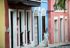 Colorful colonial architecture in old town San Juan, Puerto Rico