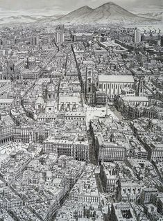 With his Cityscapes series, the Dutch artist Stefan Bleekrode demonstrates the power of his visual memory by drawing major cities of the world with a lot of s Landscape Drawings, Architecture Drawings, Art Drawings, Drawing Sketches, Cityscape Drawing, City Drawing, Stylo Art, Black And White Drawing, Dutch Artists