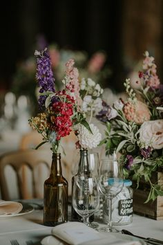 Outdoor Wedding at Elmley Nature Reserve with Barn Reception & Colourful Wild Flowers Wildflower Centerpieces, Wedding Centerpieces, Wedding Table, Our Wedding, Dream Wedding, Wedding Decorations, Centrepieces, Wedding Dreams, Outside Wedding Ceremonies