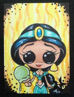 Sugar Fueled Jasmine Princess Aladdin Ice Cream Sweet lowbrow pop surrealism creepy cute big eye ACEO mini print on Etsy, $4.00