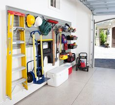 Make more space in your #garage with this slat wall. (Photo: Flow Wall System) #organize #home