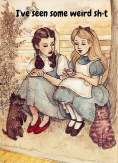 Alice in Wonderland Sits and Chats With Dorothy from the Wizard of Oz - haha pretty funny - ME TOO - lol! Cthulhu Mythos, Chesire Cat, Poster S, Print Poster, Humor Grafico, Illustrations, Funny Illustration, Princesas Disney, Just For Laughs