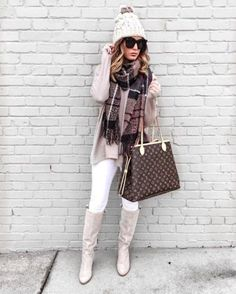 A neutral beanie with suede over-the-knee boots. #PerfectPairings