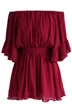 Frill Like Dancing Off-shoulder Playsuit in Wine - Buyer's Pick - Retro, Indie and Unique Fashion