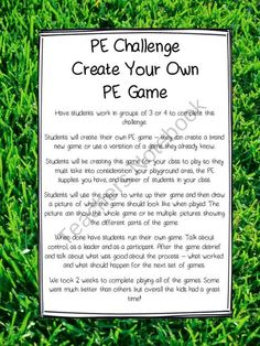 PE Challenge - Create Your Own PE Game from All Things Picture Books on TeachersNotebook.com (4 pages)  - PE Challenge - Create Your Own PE Game - This activity will have your students creating their own PE game and then running the whole thing. FREE