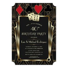 Las Vegas Casino Royale Great Gatsby Birthday Invitation Roaring 20s Birthday Party, Gold Birthday Party, 40th Birthday Parties, Casino Theme Parties, Surprise Birthday, Gatsby Party, Casino Party Decorations, Quinceanera Decorations, 26th Birthday