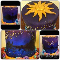 Beautiful Tangled cake by Cakin' Jane - love the braid border!