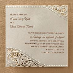 Vintage Pearls and Lace wedding invitations! These are so pretty.