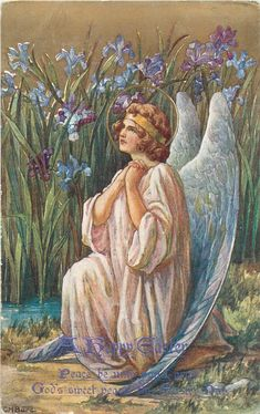 A HAPPY EASTER with verse, sitting angel prays, iris behind - Art by C.M. Burd