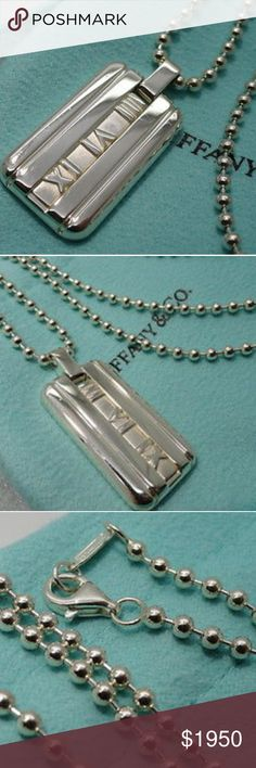 cbd0f05d4 Tiffany & Co Sterling Silver Atlas Dog Tag Pendant This is an authentic  Tiffany &