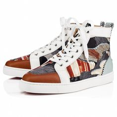 Christian Louboutin United States Official Online Boutique - Rantus Orlato Version Multi Cotton available online. Discover more Men Shoes by Christian Louboutin Louboutin Shoes Mens, Christian Louboutin Shoes, White Sneakers, High Top Sneakers, Trendy Mens Shoes, 70s Fashion Pictures, Red Sole, Plaid Shorts, Men's Shoes