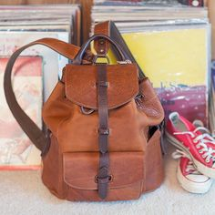 The Rainier backpack in tan. Made with bridle leather and raw inside.   leatherbackpack e7ca1a784