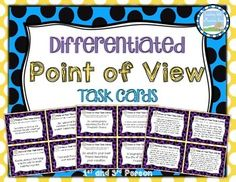 Included in this set are 36 differentiated and engaging point of view task cards covering FIRST and THIRD person POV. They have been designed for easy differentiation and scaffolding. Cards require students to determine the point of view of one sentence. Reading Strategies, Reading Skills, Teaching Reading, Reading Comprehension, Reading Lessons, Reading Resources, Learning, Authors Point Of View, Third Grade Reading