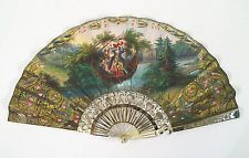 Antique French Hand Painted Fan Mother of Pearl Gold 19th century