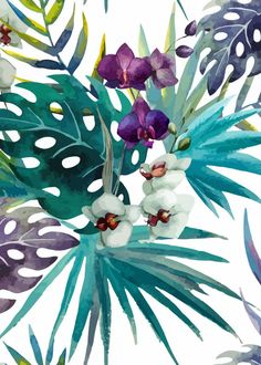 Orchid hibiscus leaves removable wallpaper green and purple wall mural design - Tapete - Orchidee Watercolor Walls, Watercolor Leaves, Watercolor Pattern, Hibiscus Leaves, Wall Art Prints, Poster Prints, Floral Pattern Wallpaper, Nature Posters, Tropical Art