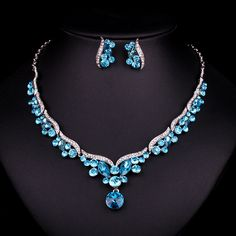 New Luxury Silver Plated Blue Crystal Dubai Bridal Jewelry Set For Brides Necklace Earring Wedding Party Accessories Women