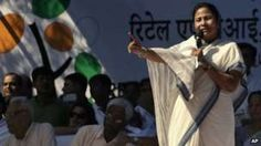 Trinamool Congress party leader Mamata Banerjee addresses her supporters at a rally in New Delhi, India