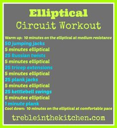 Elliptical Circuit Workout via Treble in the Kitchen (Burn Fat Elliptical) Gym Workouts, At Home Workouts, Elliptical Workouts, Walking Workouts, Morning Workouts, Quick Workouts, Daily Workouts, Start Losing Weight, Lose Weight