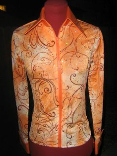 Girls Youth Horsemanship Zip Rail Shirt Leadline Orange Sparkle L | eBay