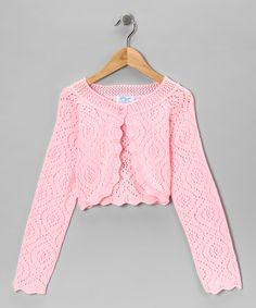 Take a look at this Julius Berger Pink Crocheted Bolero - Girls by Julius Berger on #zulily today!