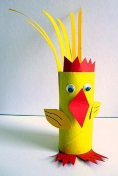 Toilet Paper Roll Crafts - Get creative! These toilet paper roll crafts are a great way to reuse these often forgotten paper products. You can use toilet paper Animal Crafts For Kids, Spring Crafts For Kids, Toddler Crafts, Diy For Kids, Toilet Roll Craft, Toilet Paper Roll Crafts, Easter Art, Easter Crafts, Chicken Crafts