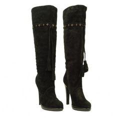 YVES SAINT LAURENT Suede tassle knee high boot