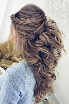 pretty half up half down wedding hairstyle ideas