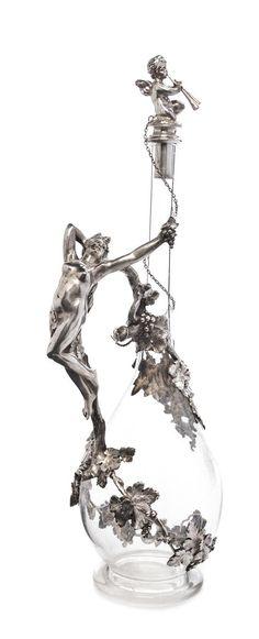 * A German Silver Mounted Cut Glass Decanter, Bruckmann & Sohne, Heilbronn,