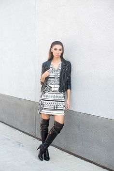 Tienlyn Jacobsen wearing knit dress, black leather jacket and OTK boots