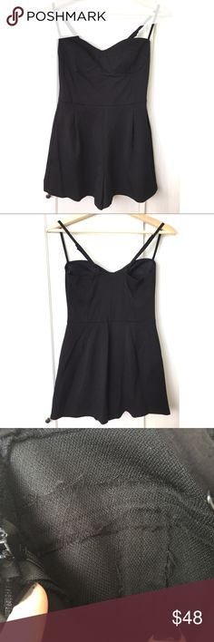 Nordstrom Leith Bustier Romper Cute black Bustier Romper by Leith from Nordstrom. Adjustable straps. Seams inside of the cups look a little messy but that doesn't affect the outside of the garment. Was used in a tv show and hasn't been used since. In very good condition. #9011735 Leith Pants Jumpsuits & Rompers