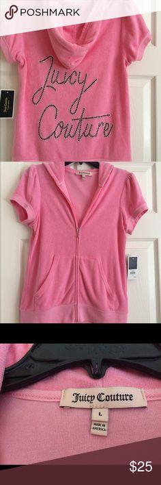 Juicy Couture short sleeve hoodie Gorgeous pink Juicy Couture hoodie with short sleeves, size L, but fits more like S/M, silver and black rhinestones. NWT Juicy Couture Tops Sweatshirts & Hoodies