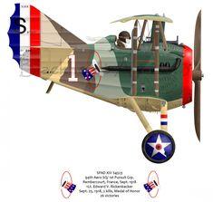Silver Halide Photo Eddie Rickenbacker 94th Aero Squadron With SPAD XIII