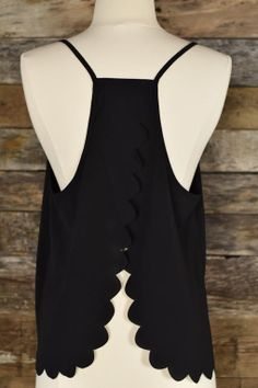 Scalloped Black Tank. Everyone who knows me knows I love an open back.