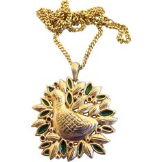 Vintage Sarah Coventry 1973 Christmas Pendant / Ornament Partridge in a Pear Tree. https://www.pinterest.com/rubylanecom/vintage-jewelry-25-or-less/