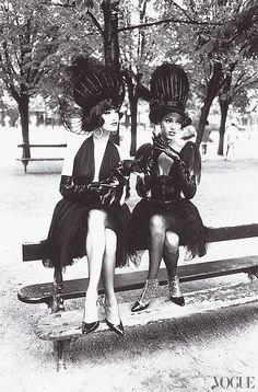 """Vogue, October 1991  Karl Lagerfeld's """"city ballerinas"""" shot in Paris.  Photographed by Ellen von Unwerth"""