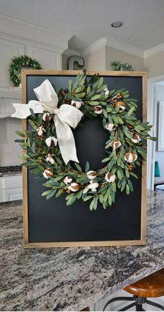 Olive & Cotton Grapevine Wreath. Farmhouse Wreath. Cotton Wreath. Olive Wreath. Front Door Wreath. Monogram Wreath. Artificial Wreath. Porch decor. Farmhouse decor. Rustic wreath. Rustic decor. Gift idea. Home decor #ad