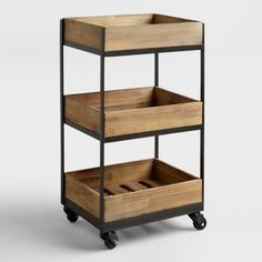 3-Shelf Wooden Gavin Rolling Cart - A rustic solution for holding your home office supplies and papers #aff