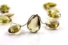 Natural bio lemon topaz pear facted gemstone drop by Beadspoint, $79.99