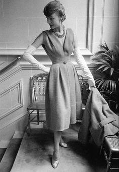 """1953 Claire in Dior's ensemble called """"Gai Paris"""", Autumn/Winter Collection Vivante Line"""