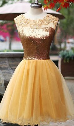 Golden Party Dresses 2016 Sequins Soft Tulle Prom Dress Gown Party Dress Custom Made