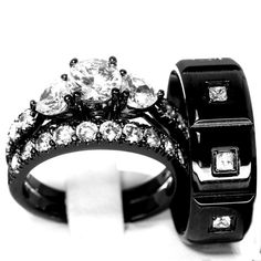 His and Hers 925 Sterling Silver Stainless Steel Wedding Rings Set Black CZ AAA