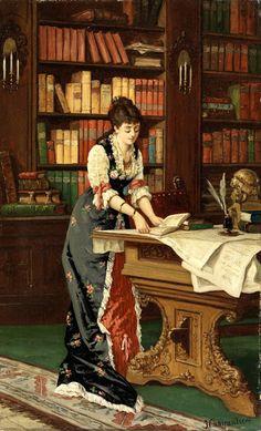 Jean Baptiste II Charpentier (French painter) 1779 - 1835  Junge Dame in der Bibliothek, s.d.  oil on canvas  66 x 42 cm.
