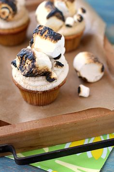 Toasted Marshmallow Cupcakes | Cheeky Kitchen #cupcakes #cupcakeideas #cupcakerecipes #food #yummy #sweet #delicious #cupcake