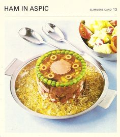 Ham In Aspic 17 Horrifyingly Disgusting Retro Gelatin Recipes Retro Recipes, Old Recipes, Vintage Recipes, Ethnic Recipes, Vintage Food, Vintage Cooking, Vintage Ads, Gross Food, Weird Food