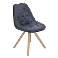Pu Black Chair With Wooden Feet