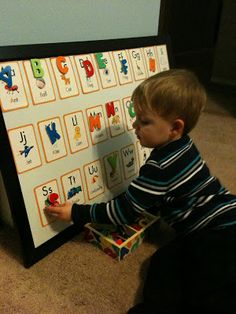 DIY Alphabet Learning Board - line the idea of it being an easel