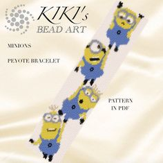 Pattern, peyote bracelet - Minions despicable me - happy minion inspired character peyote bracelet pattern in PDF - instant download                                                                                                                                                                                 More