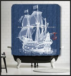 Blue Sailing Ship Shower Curtain -Tall Ship denim bluejean background Shower Curtain - Galleon Ship Nautical Decor red anchor curtain