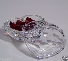Swarovski Crystal Jewel Box with 9 Loose Red Hearts Power of Love 2005 Retired